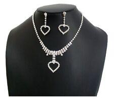 Silver Diamante Love Heart Necklace Earrings Jewellery Set Bridal Wedding Dress