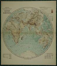 1883 LETTS MAP ~ EASTERN HEMISPHERE AFRICA EUROPE ASIA INDIAN OCEAN POPULATION