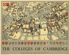 MidCentury Pictorial Map of Colleges of Cambridge Flags Coats-of-Arms Art Poster