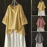 ZANZEA Womens Plaid Check Tartan Tops Blouse Summer Casual Baggy Tee Shirt Tunic