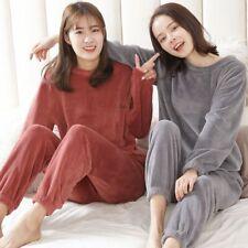 Ropa de casa para dormir Pijama Invierno Para mujeres Mangas Largas Cuello Redondo Franela