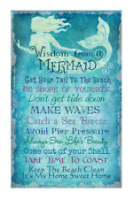 "16""H Wisdom from a Mermaid Canvas Aqua Blue Decorative Signs Advice 10 Rules"