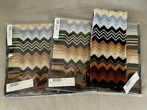 "Set Of 2 NWT Missoni Home Giacomo Brown Chevron Hand Towels 16"" X 27"" Color 160"