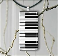MUSIC INSTRUMENT PIANO RECTANGULAR GLASS PENDANT NECKLACE -jih6