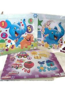 New Lot of 3 Playskool Puzzles Elefun & Friends Colors and Shapes 20 Pieces  #B2
