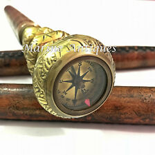 3 Domes Antique Brass Designer Handle Leather Walking Stick with Compass on Top