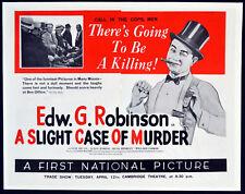 SLIGHT CASE OF MURDER 1938 Edward G. Robinson DAMON RUNYON TRADE ADVERT