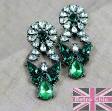 BIG RETRO CHANDELIER green/black RHINESTONE EARRINGS antique style