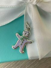 Authentic Tiffany & Co. Gingerbread Man Charm Sterling Silver with Blue Enamel