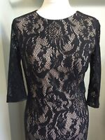 PIED A TERRE Black Lace Overlay Bodycon Wiggle Dress Sz 12 Lace Slvs Party Event