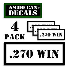 "270 WIN Ammo Can 4x Labels Ammunition Case 3""x1.15"" stickers decals 4 pack WT"
