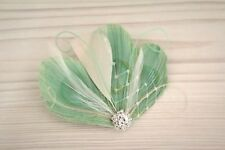 Wedding Champagne Mint Green Peacock Ivory Feather Fascinator Hairpiece Clip