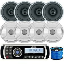 "Jensen Bluetooth Stereo, 4 x Marine 6.5"" Speakers, 4 x Grilles (W), Speaker Wire"