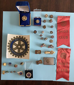 Lot Of Vintage Rotary International Club Member Pins - Paul Harris - Host Ribbon