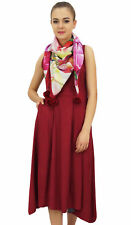Bimba Women's Designer Rayon Dress With Pockets Solid Maroon Maxi With Scarf