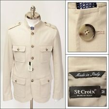 ST. CROIX Italy Almond Techno Cotton Wool Cargo Safari 5Btn Coat Jacket L 52 NWT