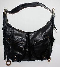 Rare Isabella Fiore Black Leather with Fur Purse Handbag