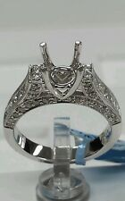 18k white gold solitaire engagement ring for wedding setting only,1.00ct diamond
