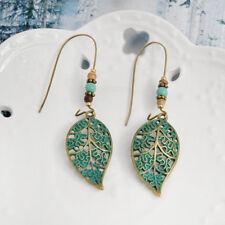 Vintage Retro Women Hollow Leaf Bead Earrings Long Dangle Drop Costume Jewelry