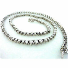 7.50 ct Round cut Diamond Tennis Necklace Graduated 3 prong 14k white Gold  16""