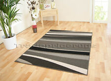 MED - EXTRA LARGE BLACK GREY, CREAM/IVORY WHITE SWIRL WAVEY LINES STRIPED RUG