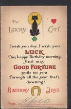 Greetings Postcard - The Lucky Cat - Birthday 'Horseshoe' Joys B1218