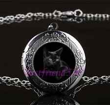 Black Cat Photo Glass Gun Black Chain Locket Pendant Necklace