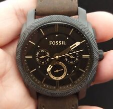 NEW OLD STOCK FOSSIL MACHINE FS4656 CHRONOGRAPH DATE LEATHER STRAP QUARTZ WATCH