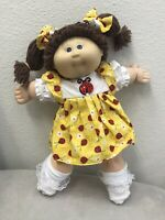 BRAND NEW YELLOW CABBAGE PATCH DRESS, Bloomers, & 2 LADY BUG HAIR BOWS ONLY