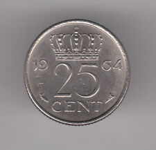 Netherlands 25 Cents 1964 Nickel Coin - Queen Juliana