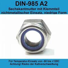 Polyamidklemmteil DIN 985 Edelstahl A2 50 St/ück Sechskantmuttern M6 niedr Form selbstsichernd