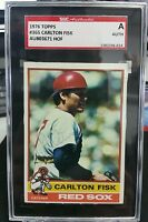 1976 CARLTON FISK Topps Auto SGC AUTHENTIC  Signed Boston Red Sox HOF