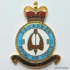RAF 10 Squadrone DANBURY COME NUOVO Distintivo In Bianco -24ct Dettaglio In Oro