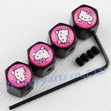 Anti-theft Black Metal Car Wheel Tyre Tire Stem Air Valve Cap For Pink Kitty