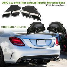 Chrome/Noir Embouts d'échappement pour Mercedes Benz C-Classe W205 AMG C63 14-19