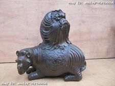 Tibet Buddhism refined craftwork Pure Bronze Da Mo Dharma Buddha Sit  rhinoceros