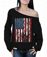 American Flag Distressed Off the shoulder oversized slouchy sweater sweatshirt