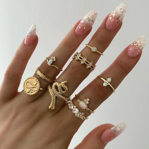Bohemian Rings Set For Women Gold Crystal Bridal Antique Adjustable Jewelry