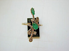 Emerald and Diamond Cocktail Ring 18kt White Gold Custom Handcrafted EUC