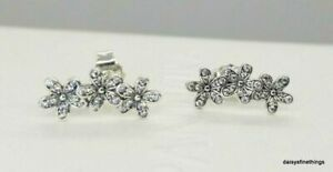 AUTHENTIC PANDORA DAZZLING DAISY STUD EARRINGS #290744CZ RETIRED
