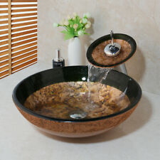 Tempered Glass Bathroom Vessel Sink Round Bowl Waterfall Mixer Chrome Faucet Tap