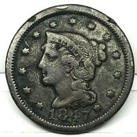1847  Penny Braided Hair Large Cent - Original- Nice Coin.