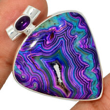 Mexican Laguna Lace & Amethyst 925 Sterling Silver Pendant Jewelry AP192206