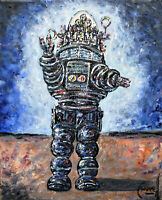 FORBIDDEN PLANET ROBBIE robot painting 8x10 canvas original signed art Crowell
