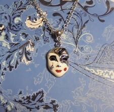 Rhinestone Mask Charm Chain Silver Necklace**~$1 SHIP