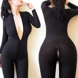 Womens Sexy Striped Sheer Bodysuit Catsuits Romper 2 Zipper Long Sleeve Jumpsuit