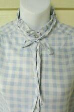 Vtg 70's Blue Gingham Ruffle Kitten Bow Long Sleeve Secretary Blouse Top Shirt M