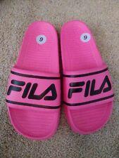 NEW FILA Women's Sleek Slides / Sandal Shoe Pink / Black size 9
