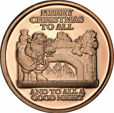 1 oz Copper Round - Santa at Fireplace
