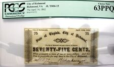 1862, Civil War, City of Richmond 75 Cents, Fractional Currency, PCGS 63 PPQ